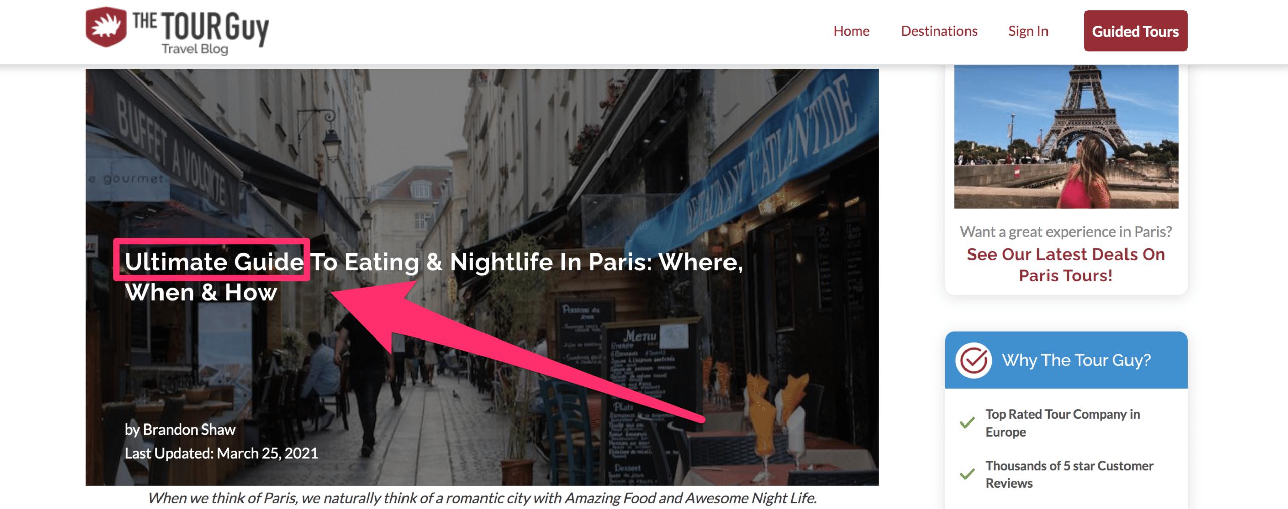 blog article ultimate guide header of eating and nightlife in paris