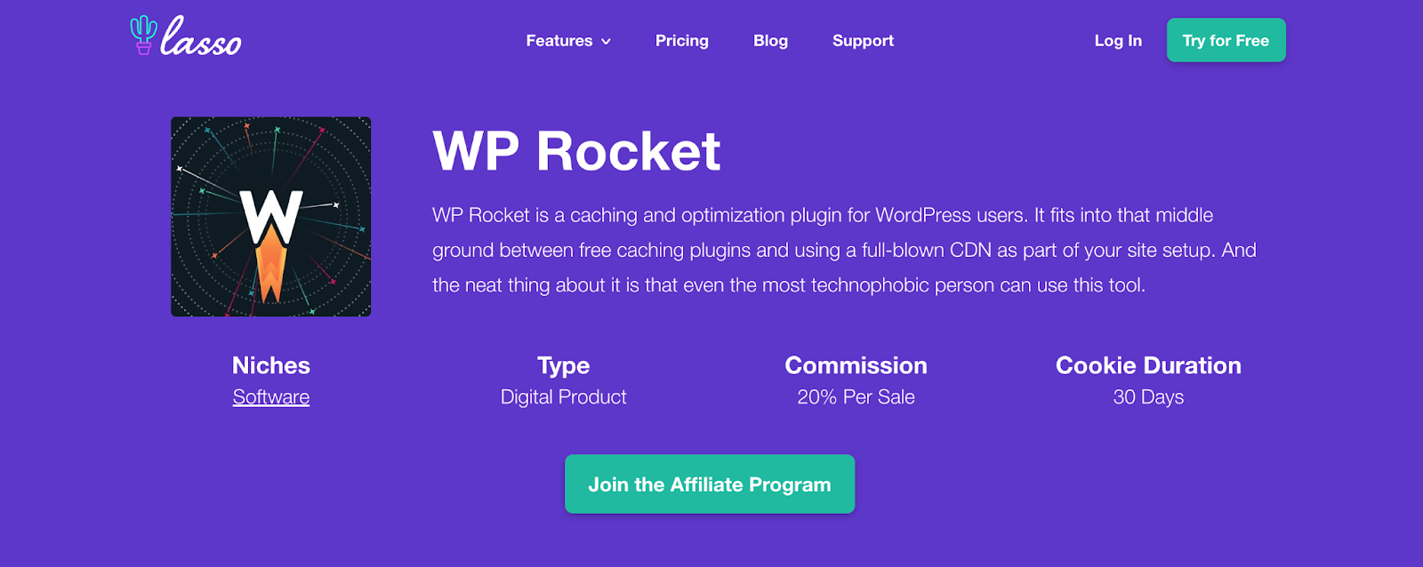 wp rocket affiliate program details page in lasso for your affiliate marketing website