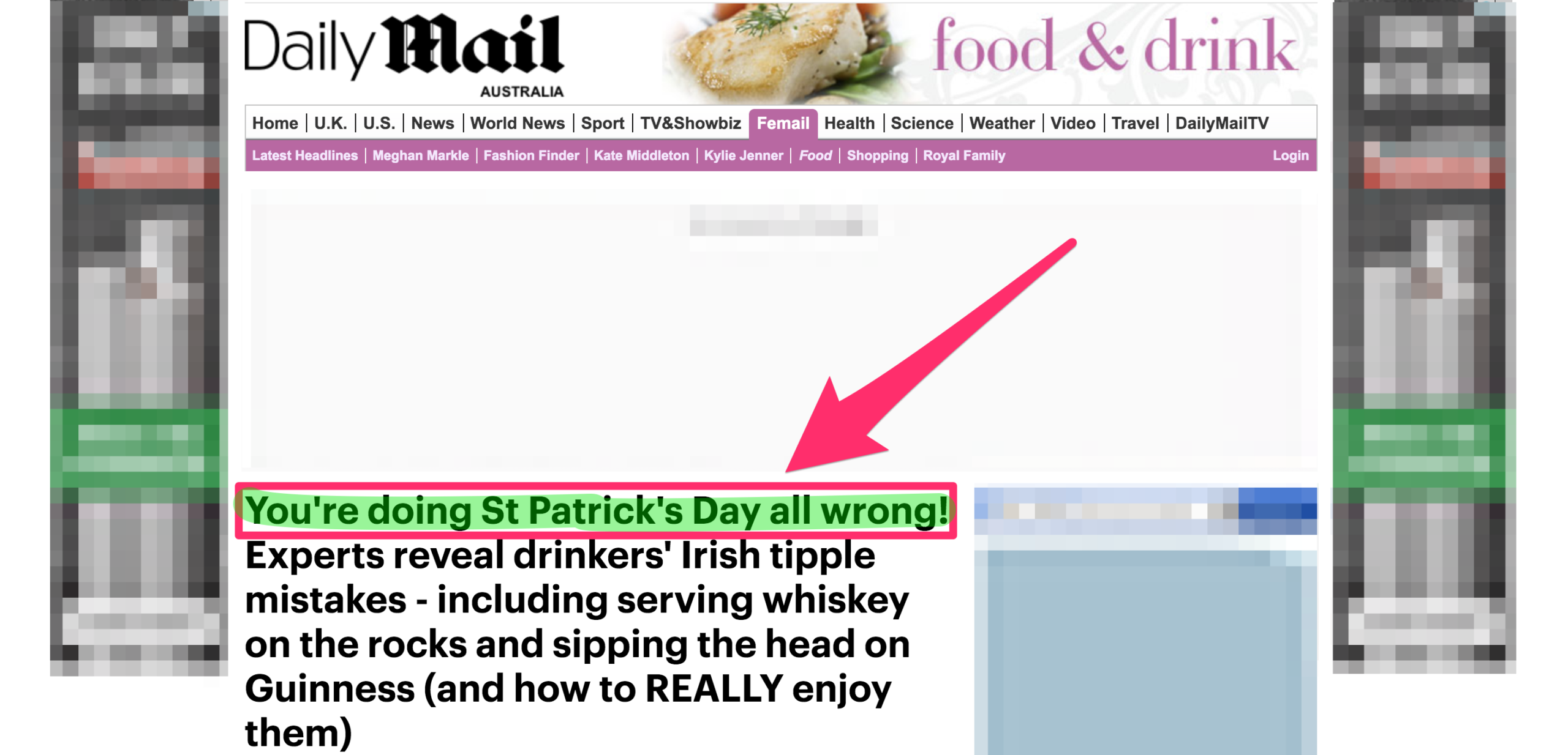 daily mail youre doing it wrong style post headline about saint paddys day