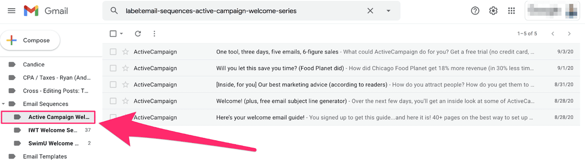 active campaign welcome email category in gmail account
