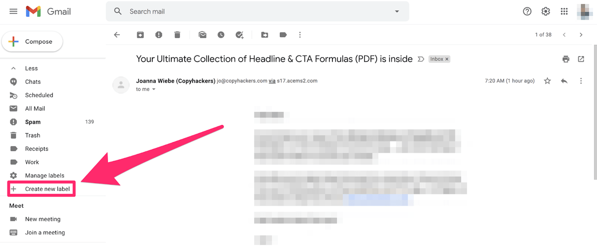choosing create new lable button in gmail