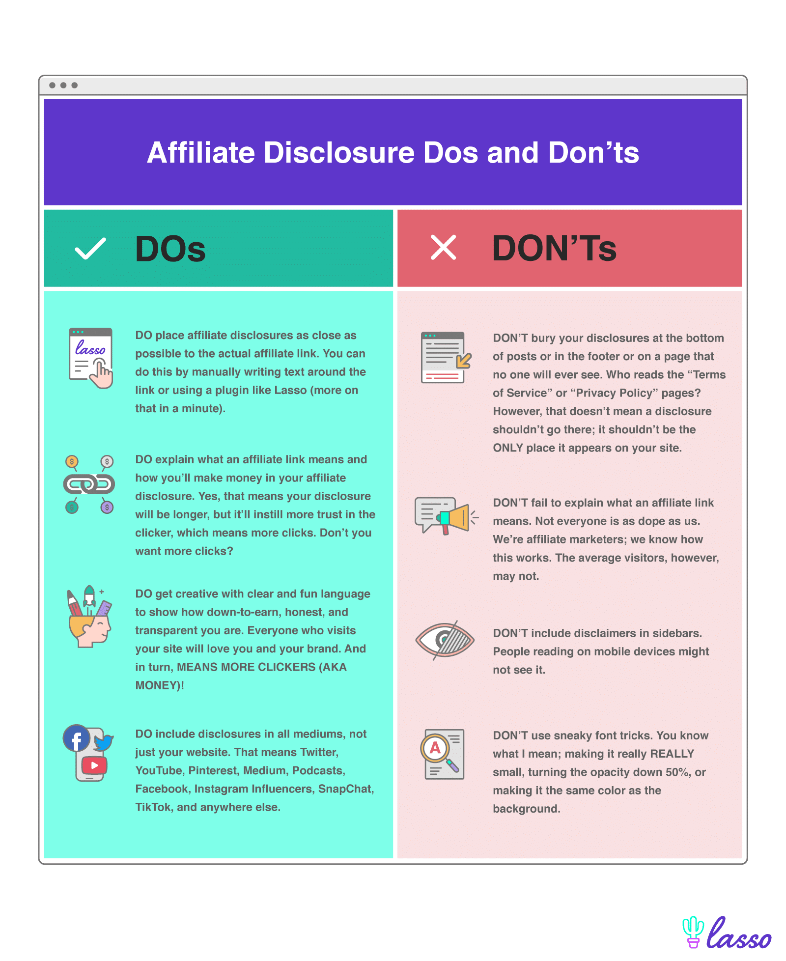 affiliate dos and don'ts comparison side by side green and red columns