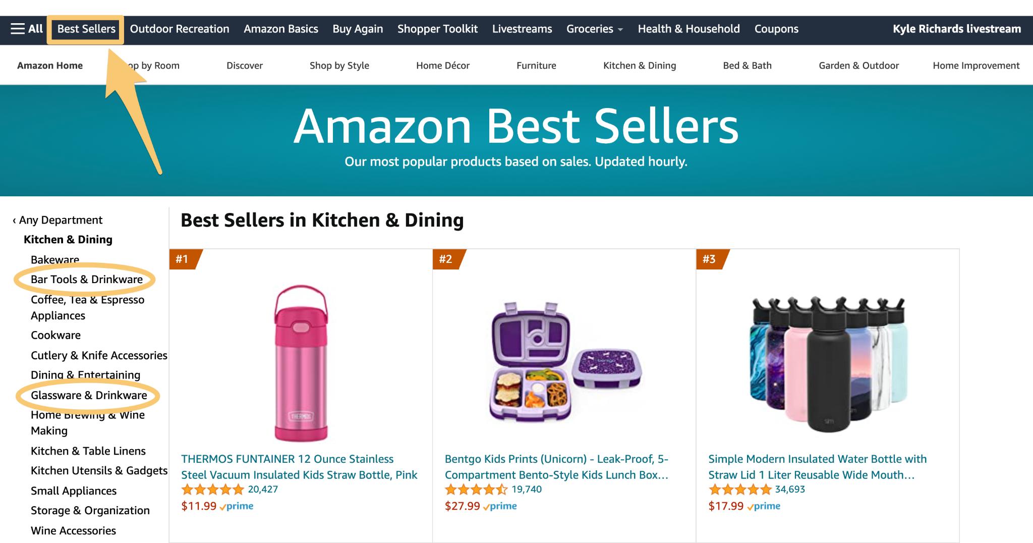 finding best sellers on amazon website