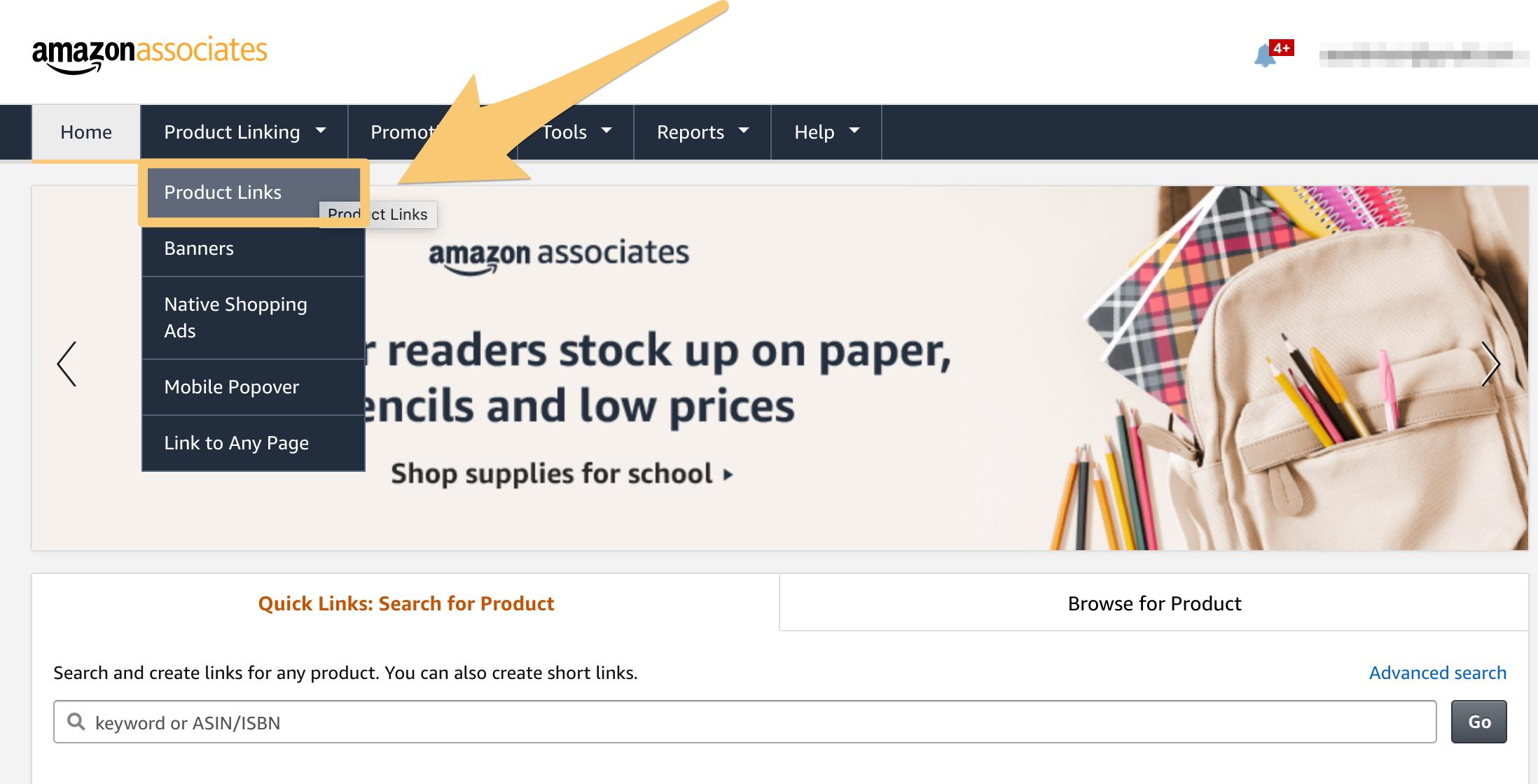 amazon product linking inside associates account