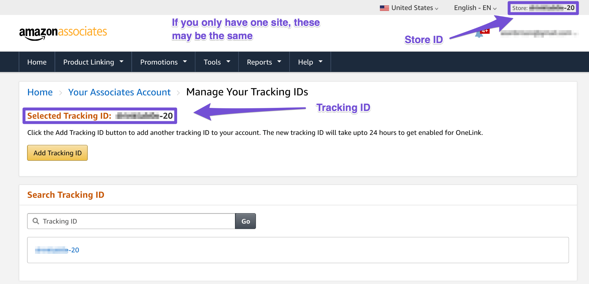 amazon tracking id and store id