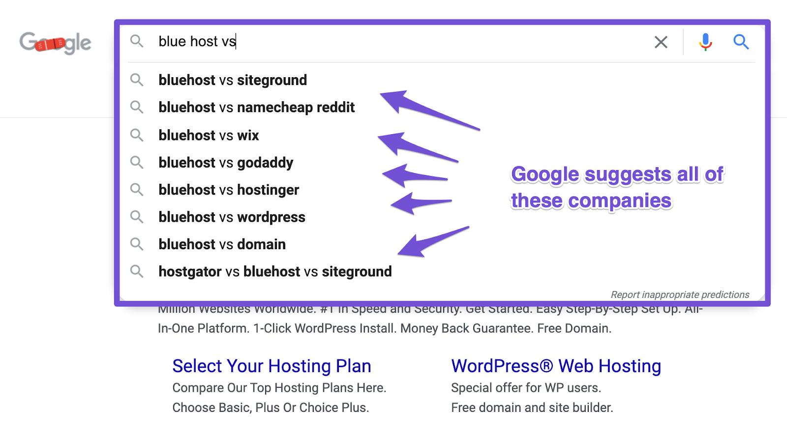 google autosuggest for term blue host vs