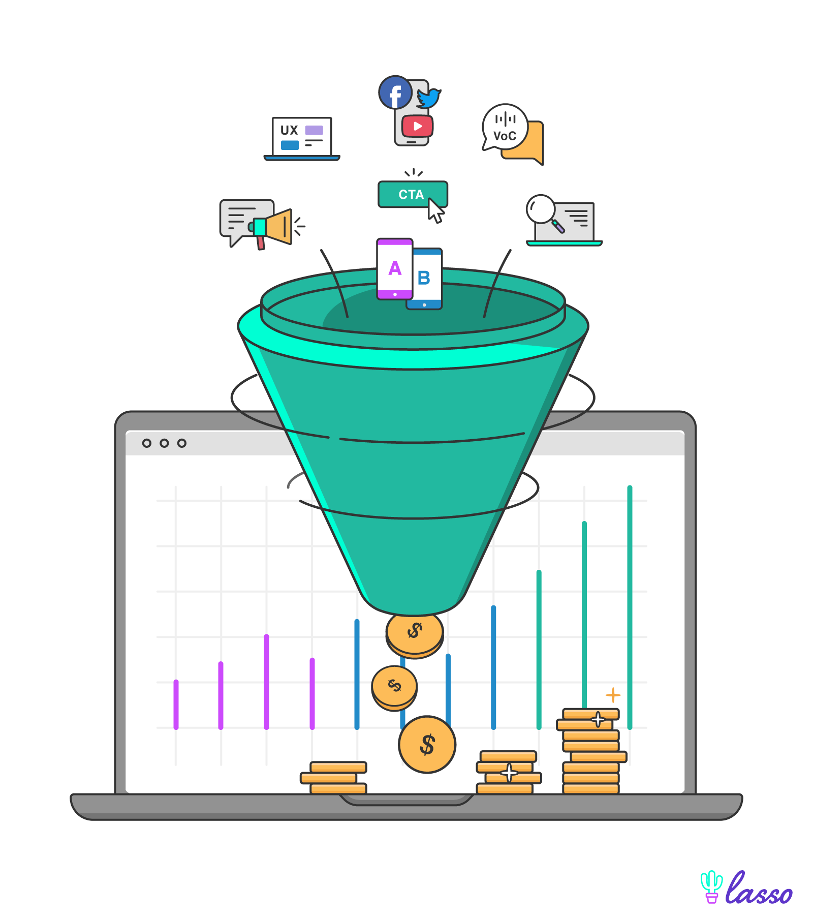 funnel converting icons into coins