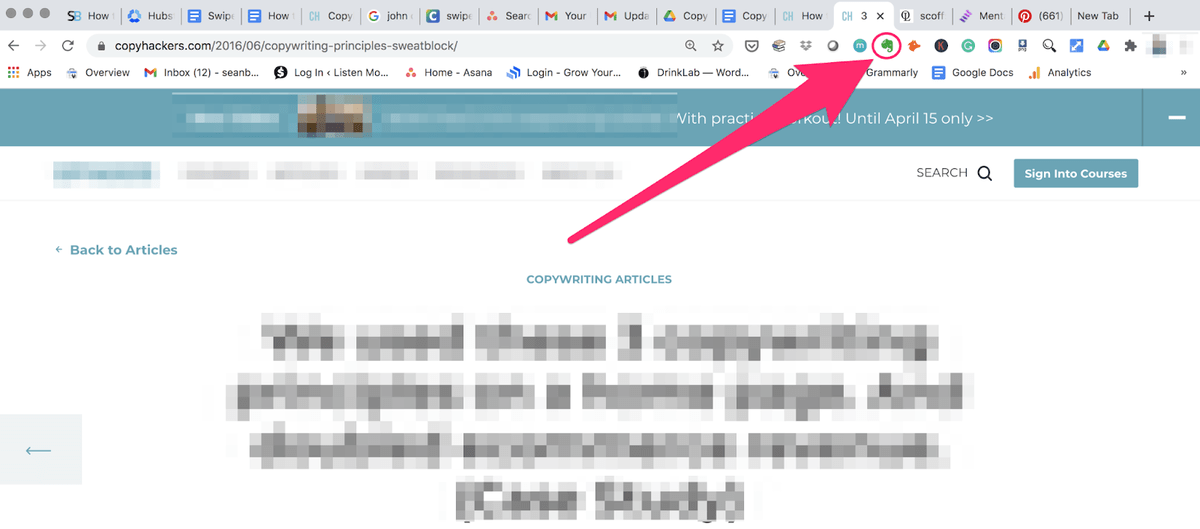 evernote icon appearing in your bookmarks bar