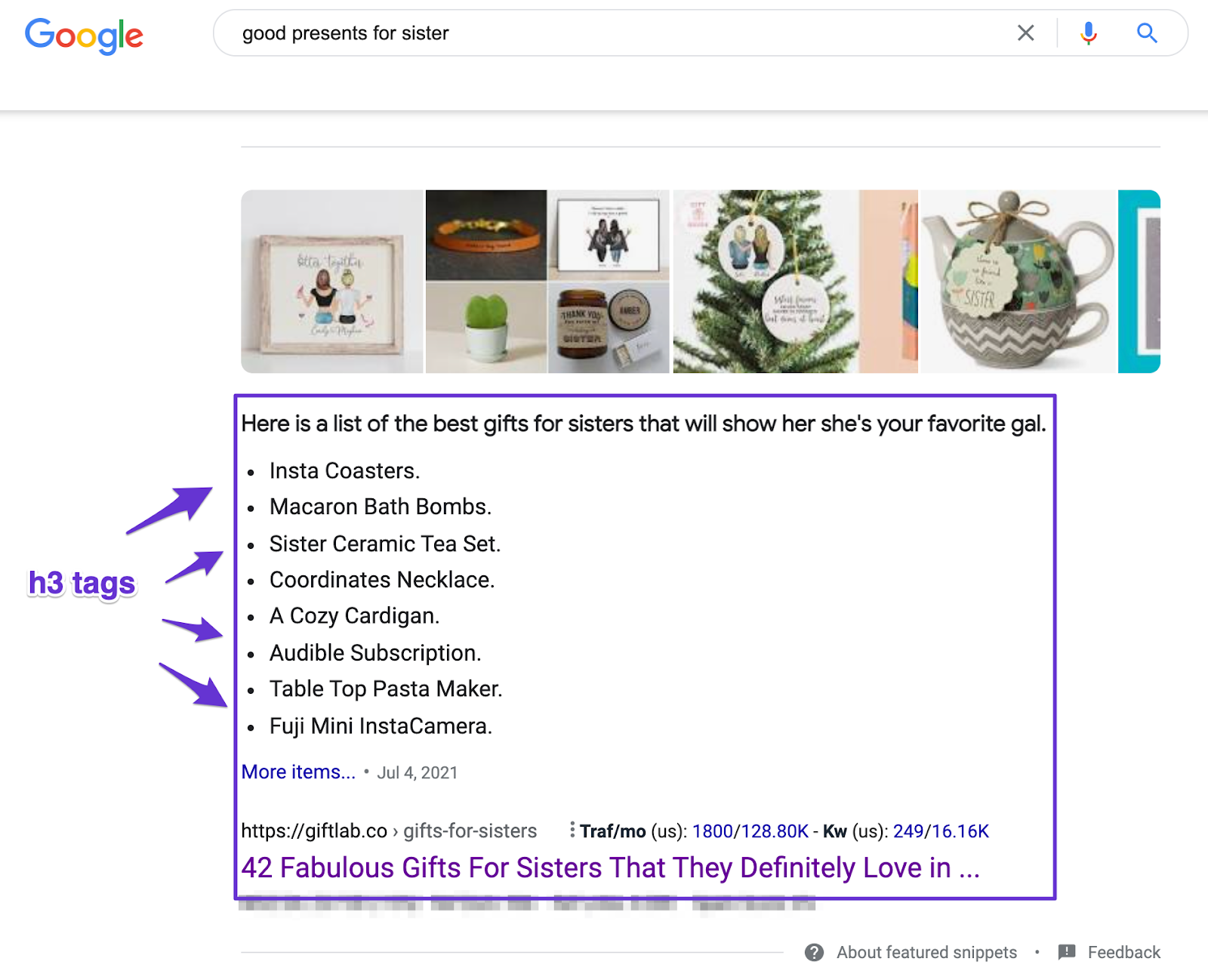 h3 tags displaying the featured snippet