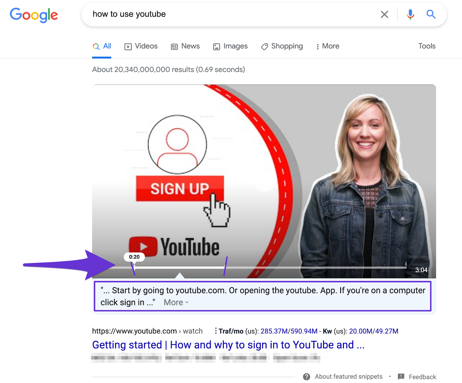 how to youtube video ranking for featured snippet with time stamp