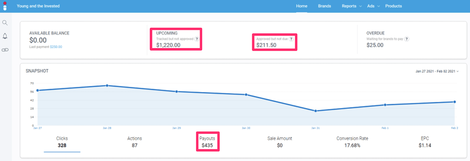 monthly affiliate income from riley dashboard