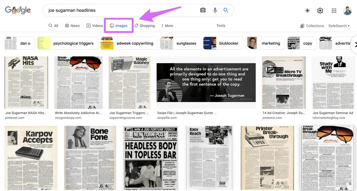 google image search results for joe sugarman