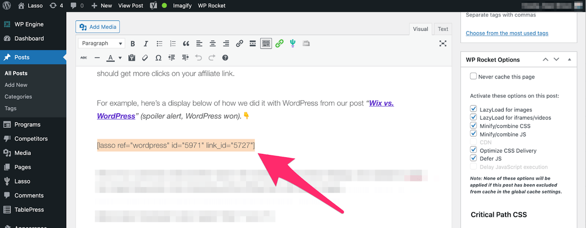 lasso adding shortcode to your post in wordpress