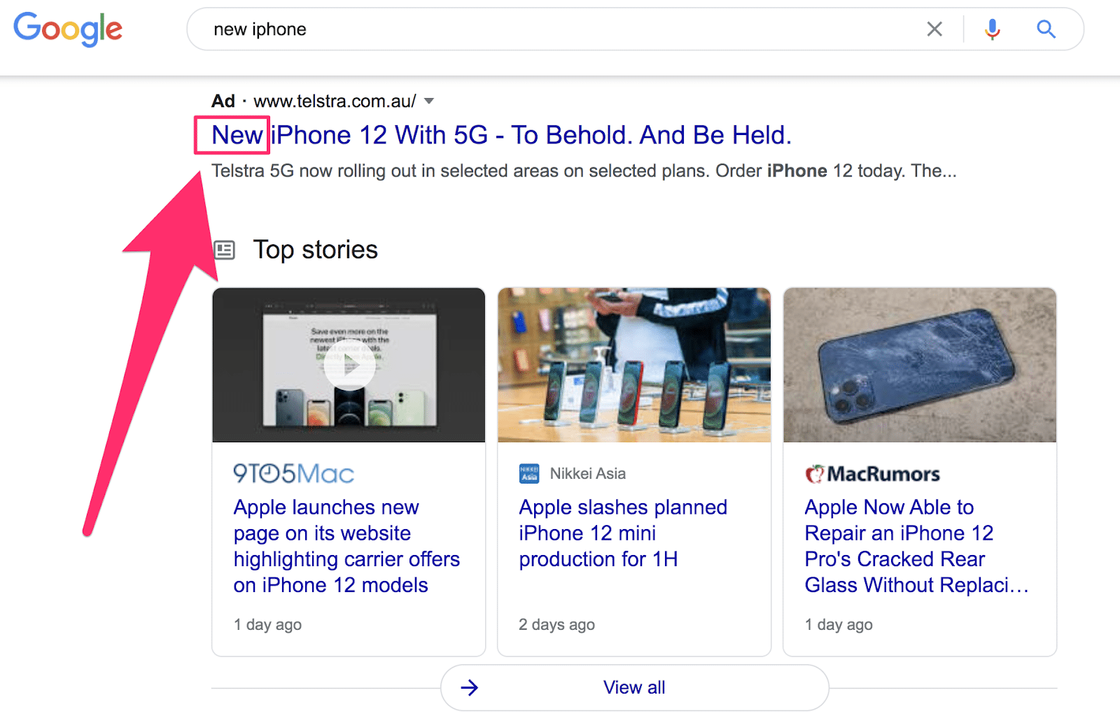 ad displaying the words new iphone in the headline display on the serp