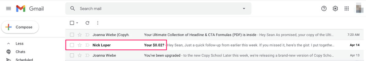 nick loper's 2 cents email subject line