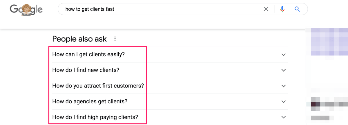 people also ask section in serps