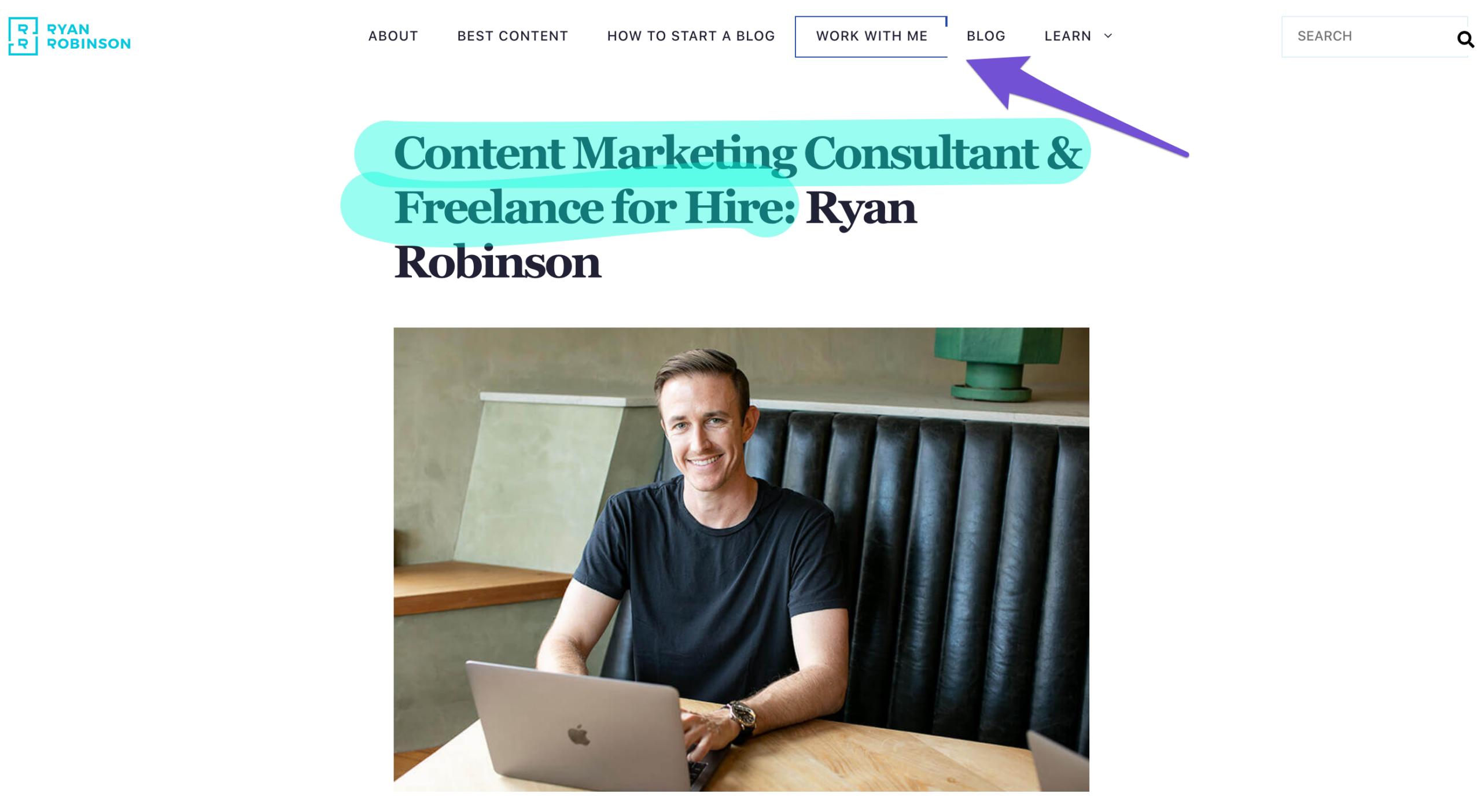 ryan robinson hire me page