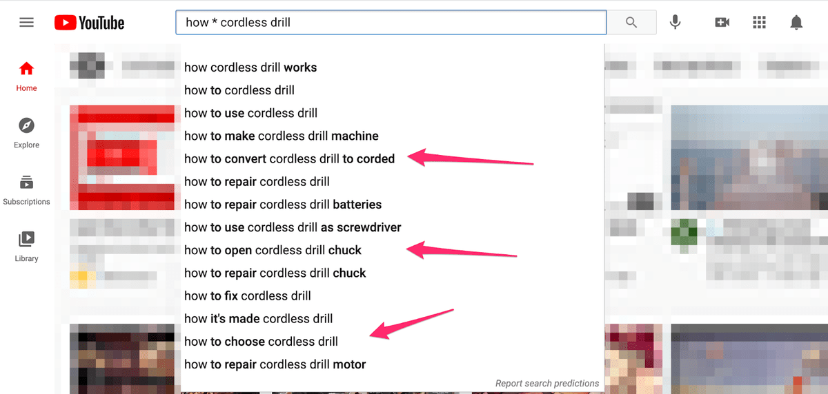 using youtube search engine with wild card operator