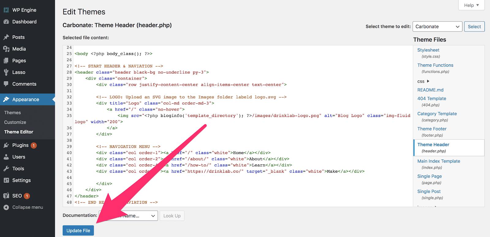 click update file in theme editor