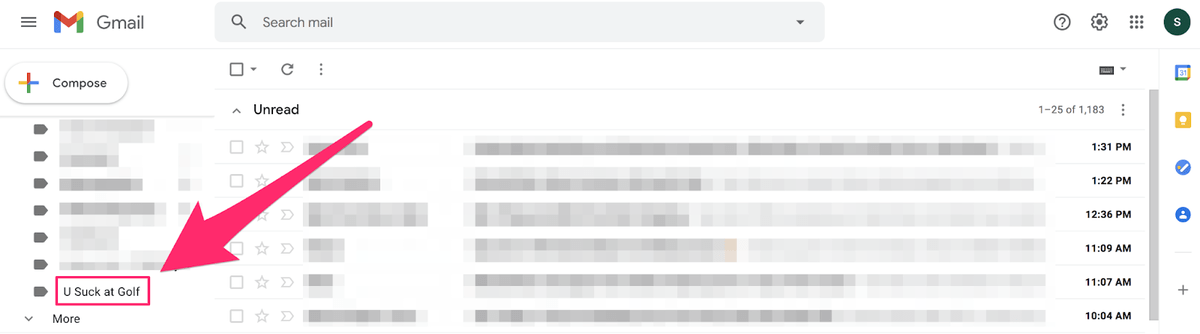 u suck at golf brand category in gmail account