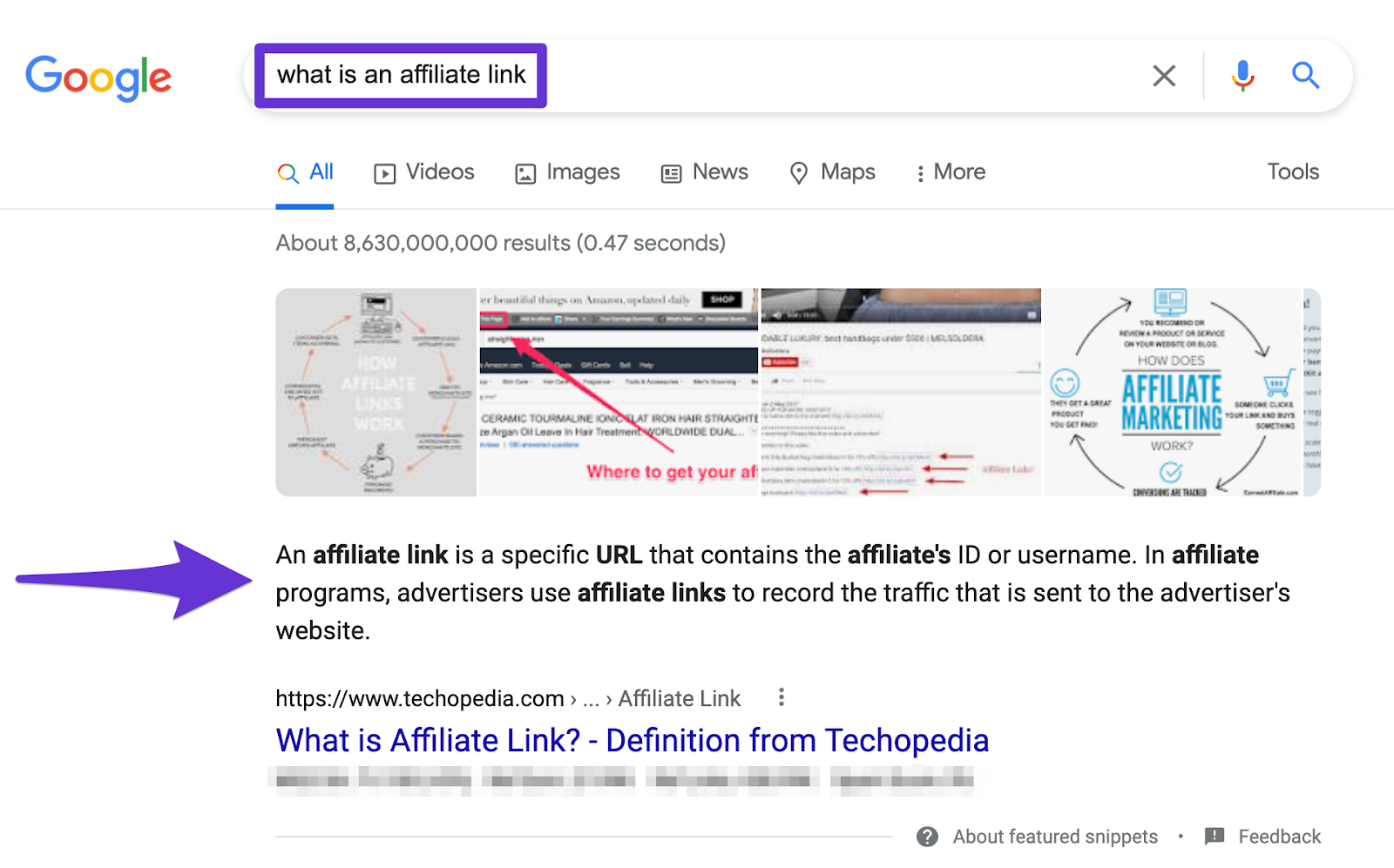 paragraph snippet in search result answering question immediately