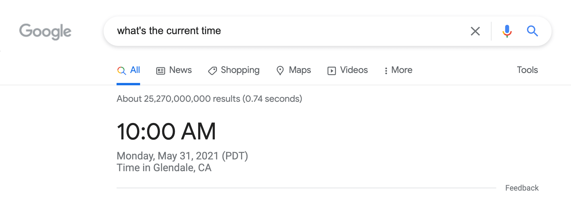 current time google knowledge card