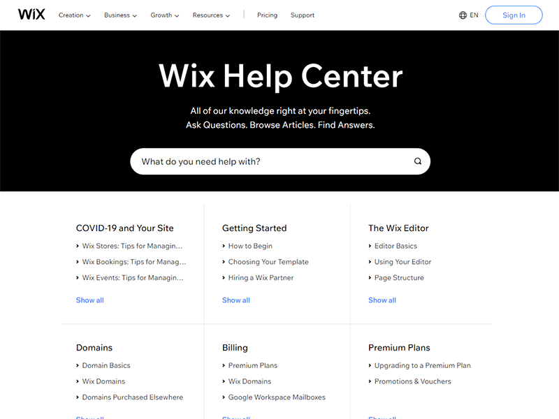 Wix Help Center: Wix vs. WordPress