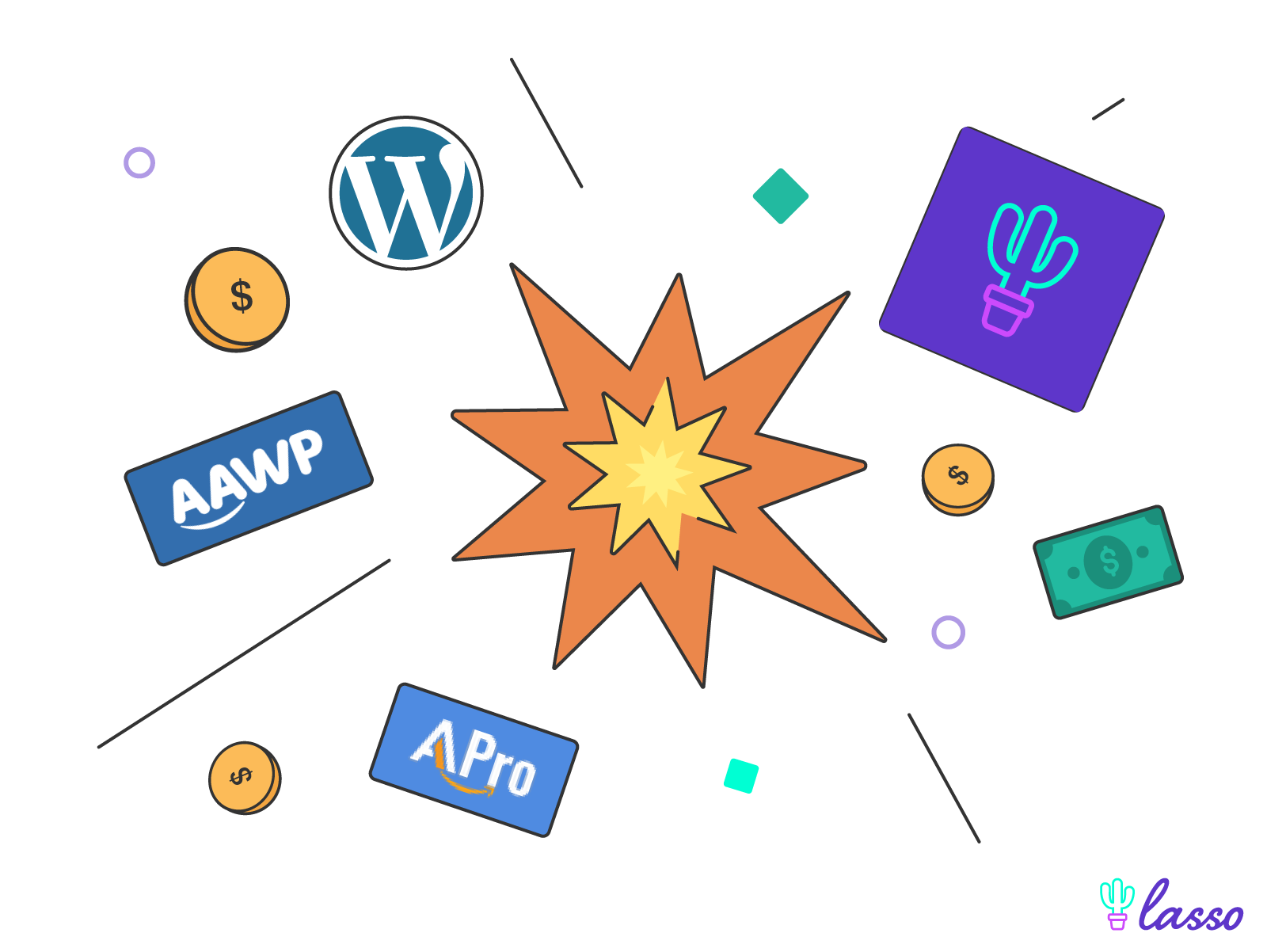 wordpress affiliate plugins logos exploding out of an explosion with dollar bill signs